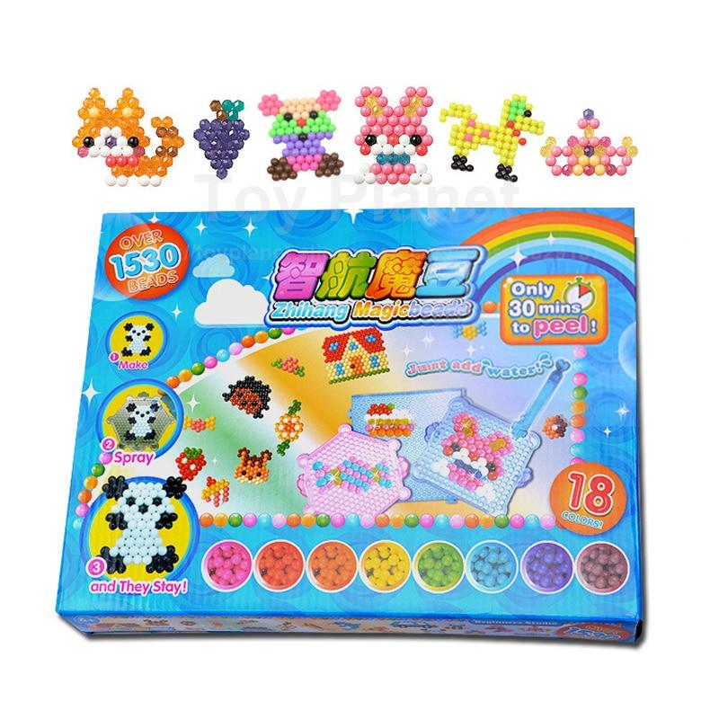 18 Colors 1530pcs Aqua Perler Beads Box Set With Accessories Magic Agua Beads Spray Perlen Bead 3D Puzzles Children Toys