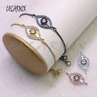 8Pcs Eyes shape charms bracelet Mix color jewerly bracelet zircon charms bracelet gift for lady5391