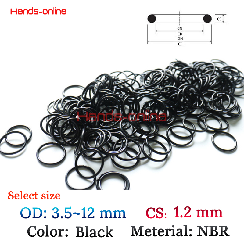 3.5/4/5/5.5/6/6.5/8/9.8/10/12 mm OD x 1.2mm CS O-rings O Ring oil seal resistant NBR Nitrile Butadiene Rubber sealing o-ring metal o rings o ring purse ring connector anti bronze 12 mm 1 2 inch 40pcs u123