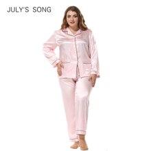 JULYS SONG Conjunto de pijama de seda para mujer, Rebeca de manga larga, ropa de dormir holgada de dos piezas, talla grande