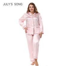 JULYS SONG Large Size Ladies Silk Pajamas Set Long Sleeved Cardigan Loose Two Piece Female Nightwear Womens Sleepwear