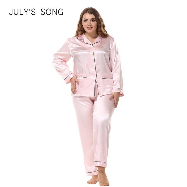 JULYS SONG Large Size Ladies Silk Pajamas Set Long Sleeved Cardigan Loose Two Piece Female Nightwear Womens Sleepwear