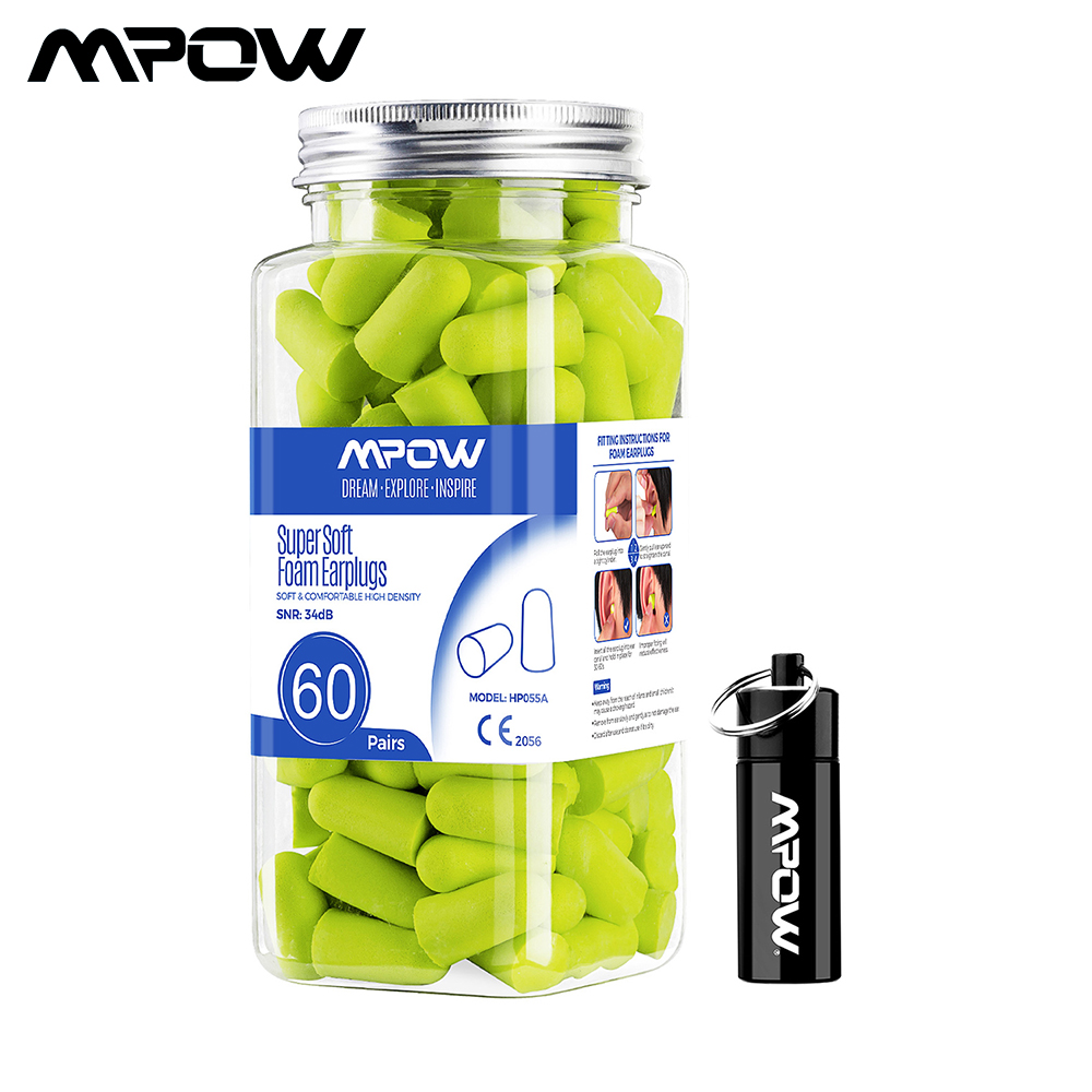 Mpow 60 Pairs NRRA 32dB Noise Reduction Foam Ear Plugs Hearing Protector Noise Blocker Earplugs With Carrying Case For Sleeping