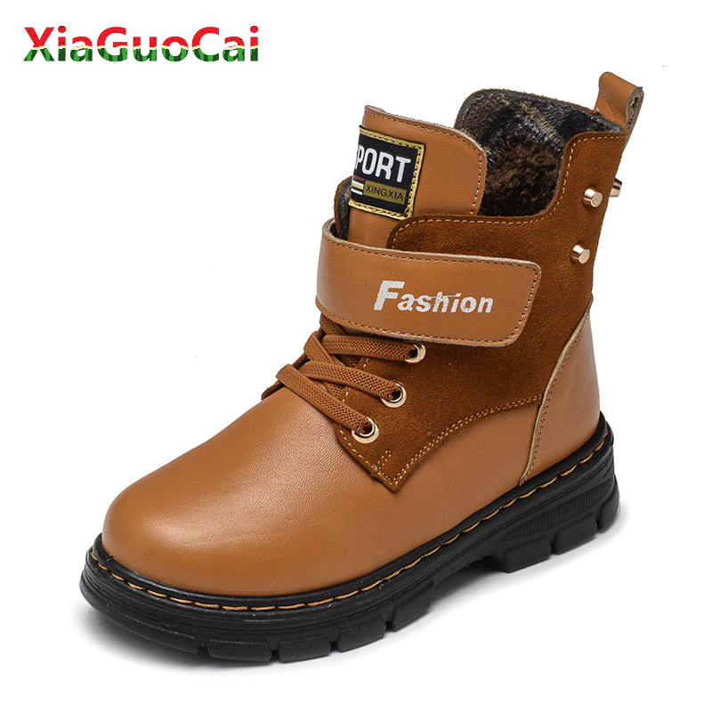 Newest Winter Warm Children Boys Martin Boots  High Genuine leather Snow Wear Rubber Anti slip Snow Boots Side Zipper Shoes B71Newest Winter Warm Children Boys Martin Boots  High Genuine leather Snow Wear Rubber Anti slip Snow Boots Side Zipper Shoes B71