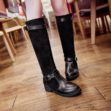 New fashion low square heel women's western boots autumn women boots patchwork casual boots work shoes woman large size 34-43