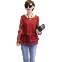 2017 New Spring And Autumn Style O Neck Lace Blouse Women Plus Size 3XL 4XL Casual