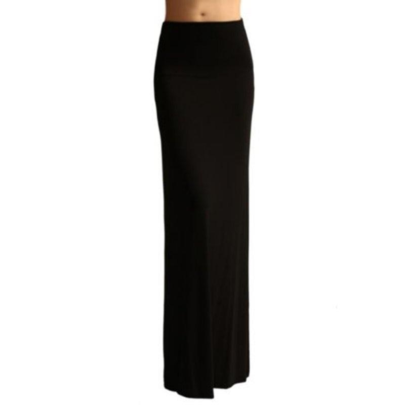 Women High Waist Sexy Foldover Long Jersey Maxi Skirts Elastic ...