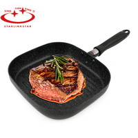 Non stick Square Bakeware Aluminum No Oil smoke Steak Fish Barbecue Striped Frying Pan Only For Gas Cooker 22*24*4.4cm