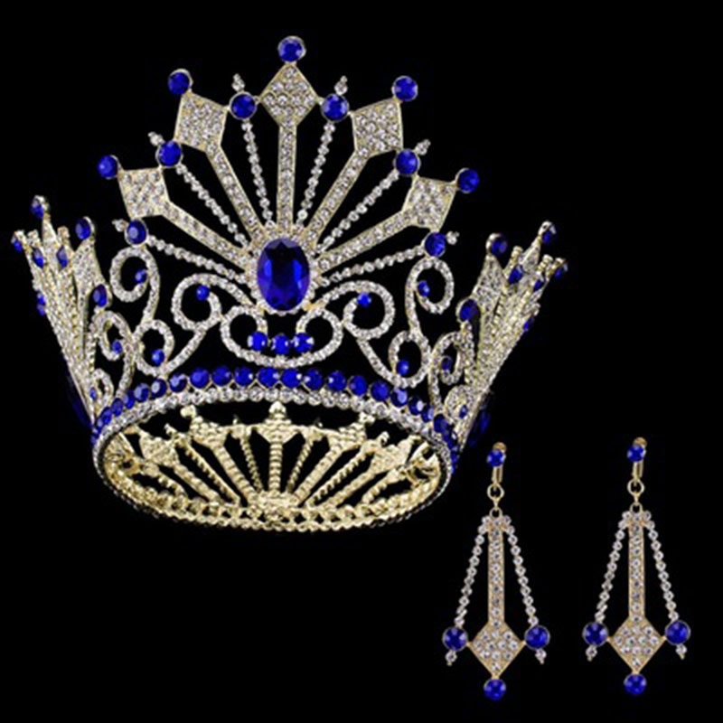 Luxury Beauty Show Big Crown Round King Princess Queen Crowns Large Tiara World Miss Baroque Bridal Hair Jewelry for Women Head