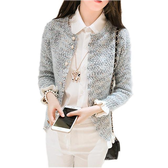 Otoño Cardigans Suéter de Las Mujeres Elegante Cardigan de Punto Plisado Coreano Señoras Suéteres Patchwork Coreano Suéteres Ropa