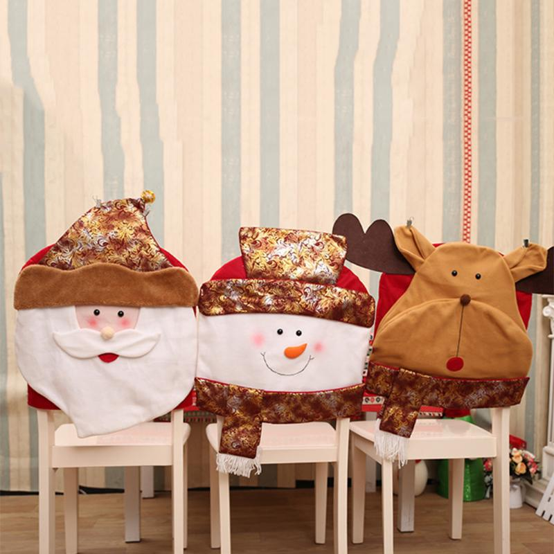 1 PC Christmas Golden Chair Cover Santa Snowman Elk Christmas Dinner Table Party Chair Back Covers Xmas For Home New Year decora