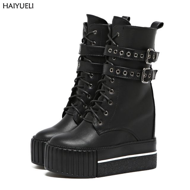 2168cc12b38 Botas de tacón alto Punk motocicleta botas mujer plataforma negra zapatos  de cuña botas altas de
