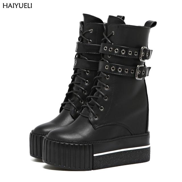 Bottes talon haut femme bottes moto Punk femme plateforme noire chaussures  compensées femme bottes hautes hiver