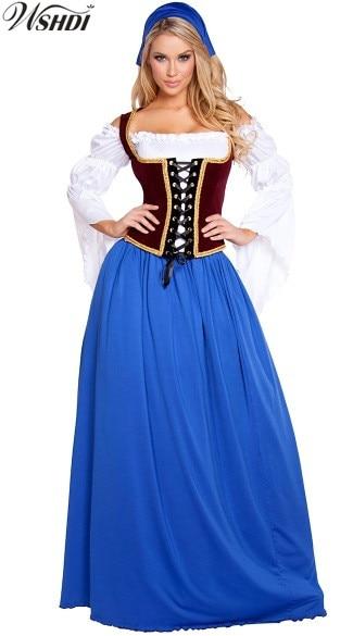 High Quality Bavarian Beer Peasant Costume Girl Wench Maiden Costume German Oktoberfest Maid Costume Fancy Long Dress