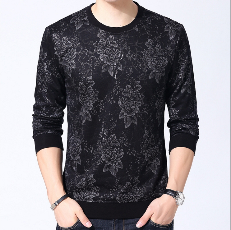 YAXITE Autumn Winter font b Mens b font T font b Shirts b font Print Black