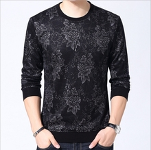YAXITE Autumn Winter Mens T Shirts Print Black Brand Clothing For Man's Long Sleeve T-Shirts Slim Plus Size Tops Tees 9203
