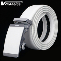TG Hot Sale Mixed Models Genuine Leather White Strap Automatic Buckle Men S Belt Cowskin