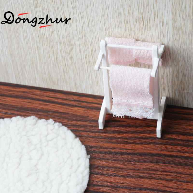Doll House Accessories Towel Rack+white Blanket Child Puzzle Handmade Doll Toy House Accessories Dollhouse Miniature 1:12 WJ1748