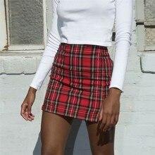 2019 skirts womens Fashion Woven Plaid Print Mini Skirt Summer Casual Ladies High Waist Slit Bodycon
