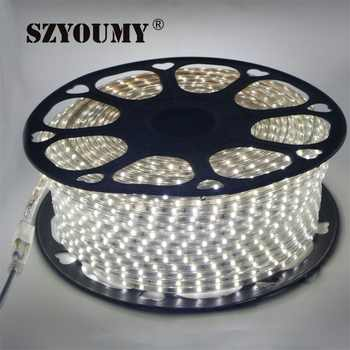 SZYOUMY 100m 220V Led 2835 SMD Led Strip Rope Light 60leds/m Waterproof IP67 LED Strip High Voltage Flexible Led Strip With Plug