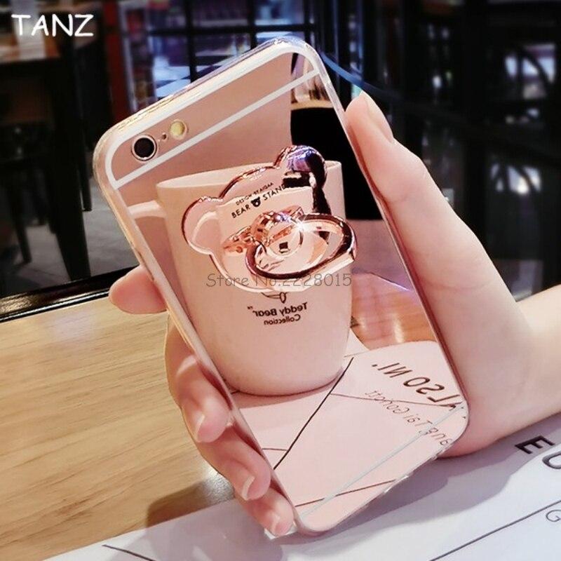 TANZ Fashion Soft TPU Mirror Metal <font><b>Bear</b></font> <font><b>Ring</b></font> Stand <font><b>Phone</b></font> Case For iphone X 6 7 6S 8 plus 5 5S SE 7plus Holder Back Cover Case