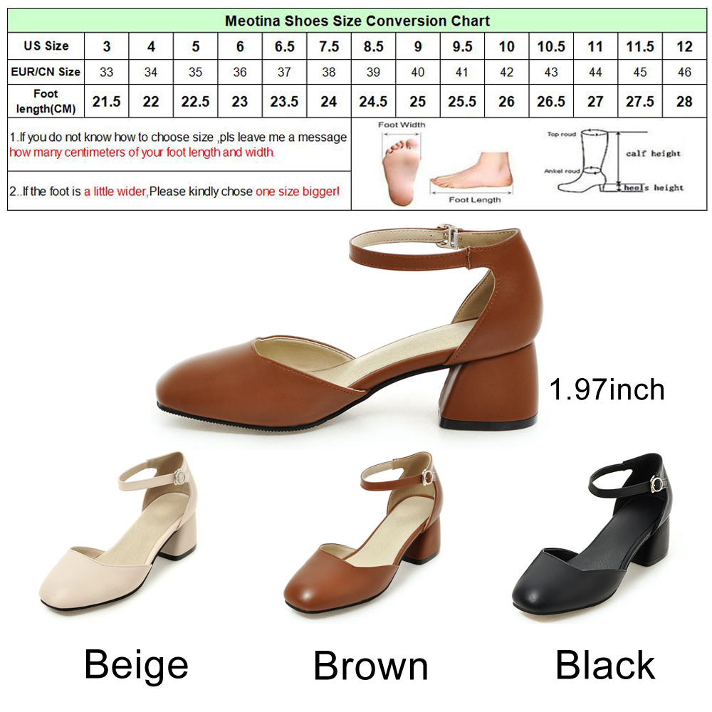 bbfc3c3b33 Meotina Women Pumps Ankle Strap Thick Heel Women Shoes Square Toe Mid Heels  Dress Work Pumps Comfortable Ladies Shoes Size 34 43-in Women's Pumps from  Shoes ...