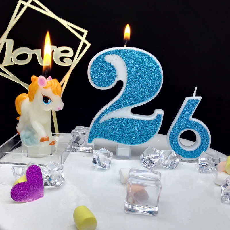 Extra large blue glitter digital candle happy birthday cake full moon hundred days confession male boy child 520 gift