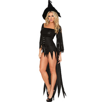M,L,XL Women Halloween Costume Fashion Exotic Fancy Dress Black Cosplay Costume sexy witch costume