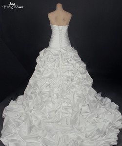 Image 4 - RSW788 Real Sample Photos Satin Ball Gown Wedding Dresses With Beaded Lace Appliques Vestidos de Noiva