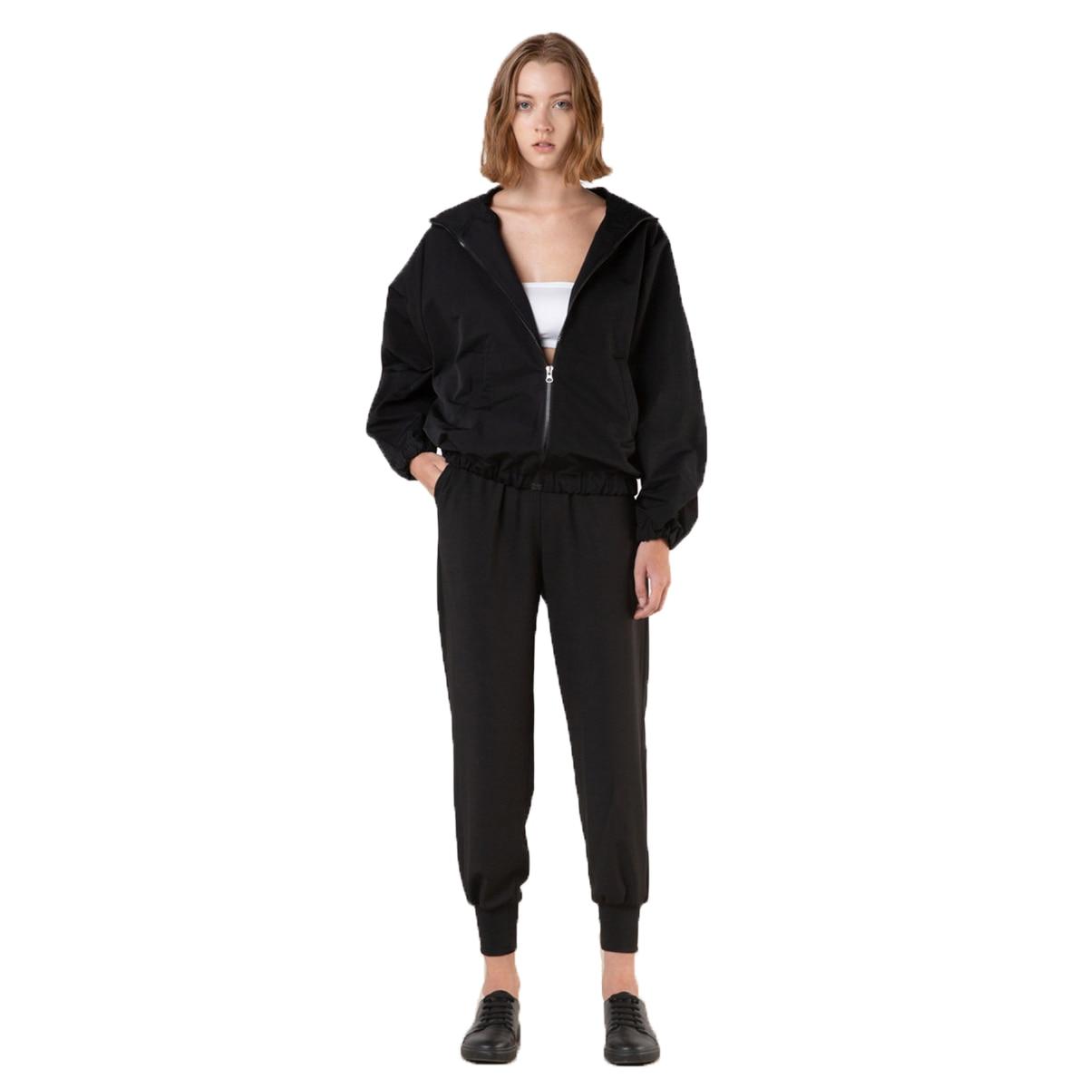 Для женщин куртка спорт осень-весна Свободные пиджаки с капюшоном Мода Повседневное простые черные женский кардиган и куртки