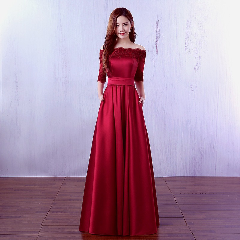 Plus Sizes Red Wine Red   Evening     Dress   Boat Neck Half Sleeves Satin Off Shoulder Elegant Women Party Prom   Dresses   2019