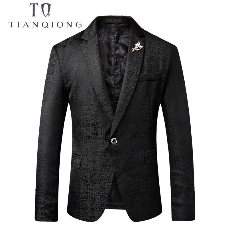 TIAN QIONG Men Blazer 2018 Latest Coat Design Luxury Mens Casual Blazer Jackets Black Shallow Blue Blazer Masculino Slim Fit