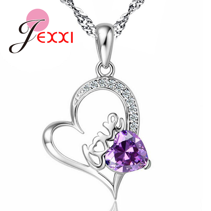 JEXXI Wholesale Jewelry Necklace 925 Sterling Silver Love Letter Heart Cubic Zirconia Pendant Jewellery Necklaces