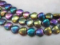 5strands6 8 10 мм Гематит камень Титана покрытием, сердце любовь радуга серый синий серебро, золото, бронза, фиолетовый, brozne смешанные свободные би...