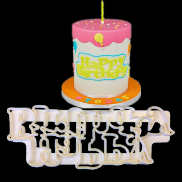 Hot Happy Birthday Plastic Candy Stencils Biscuits Cookie Cutter Mold Cake Fondant Decoration Tools