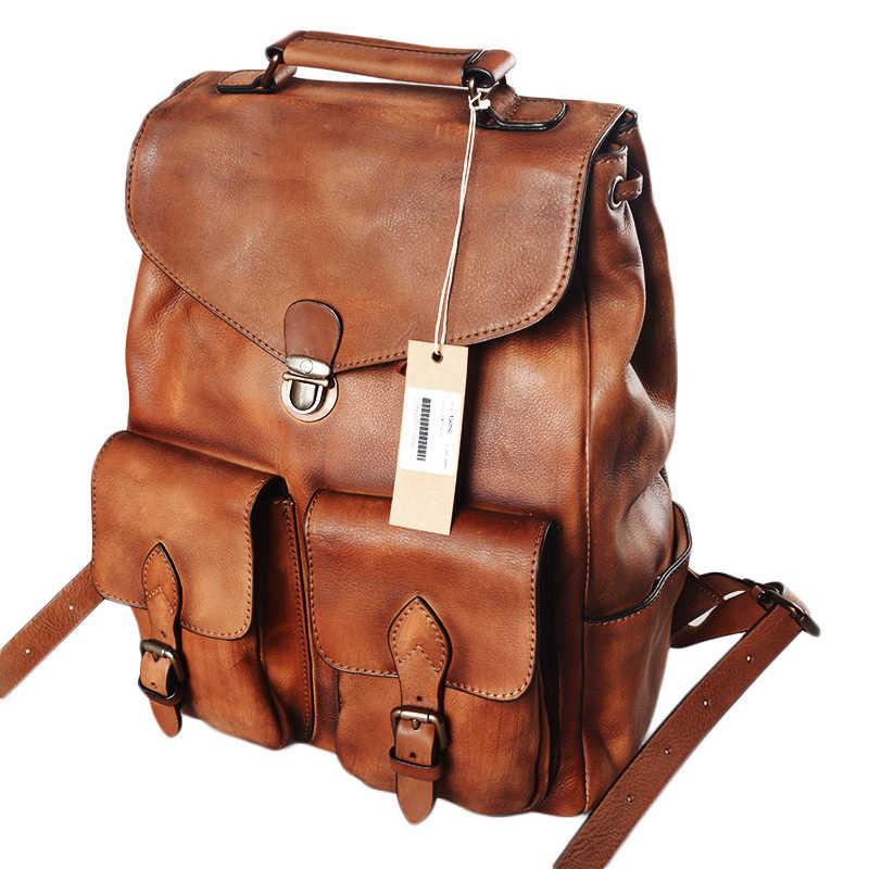 Männer Rucksack Beiläufigen Rind Große Kapazität Haspe Laptop Schulter Tasche Retro Reise Lock Rucksäcke Echte Echtem Leder Kuh Leder