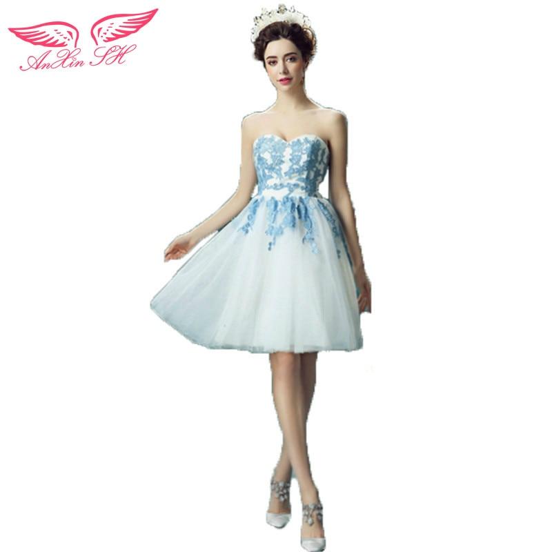 AnXin SH Blue Strapless dresses short bride toast dress for dinner will perform evening dress 9279 S