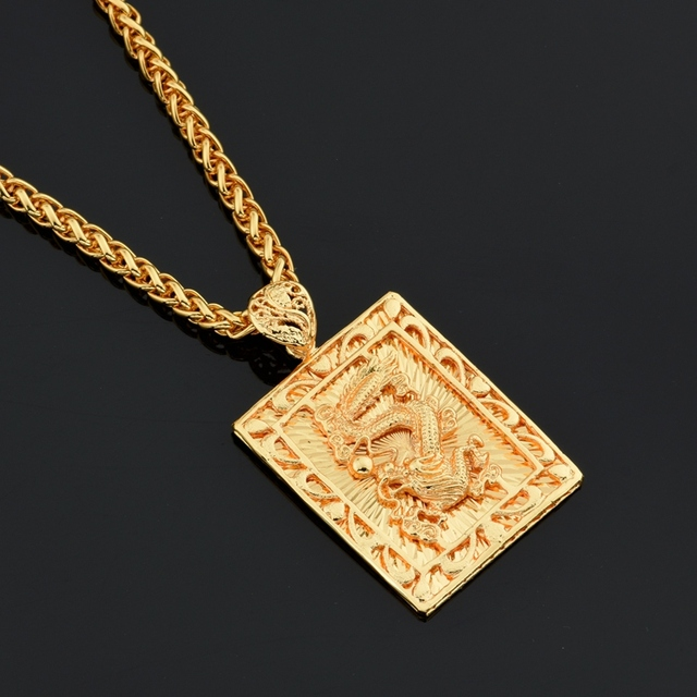 MCSAYS Hiphop Jewelry Chinese Dragon Square Card Gold Color
