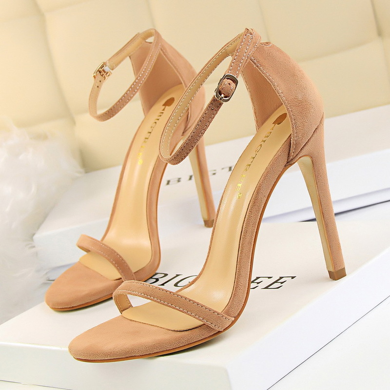 BIGTREE Women Pumps Fashion Flock Suede Open Toe 11CM Thin High Heels Pointed Toe Wedding Dress Shoes Party Shoes Nightclub Pump