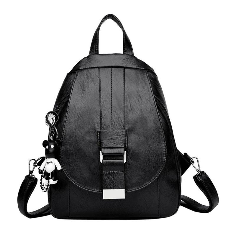 Women Simple Backpacks PU Leather Pure Zipper Shoulder Bags for Teenage Girls Travel Female School Backpack Classic Female Bag