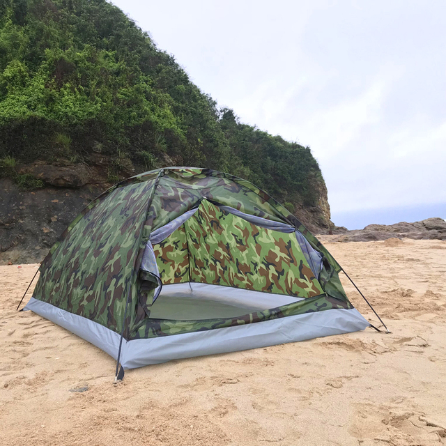 TOMSHOO 1/2 Person Camping Tent Beach Tent Single Layer Tent Portable Camouflage Polyester PU1000mm Camping Hiking Outdoor Tent 5