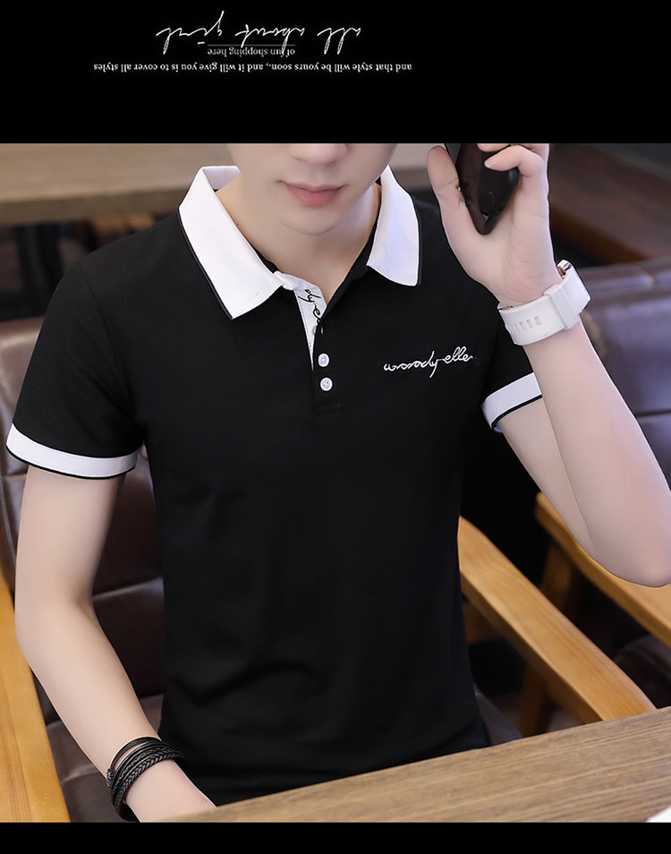 2019 men splicing t-shirts with short sleeves Comfortable in summer youth leisure lapel t-shirts 22