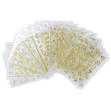 30 Pcs/Set Nail Art Decorate Sticker Moon Star,Smile Face,Octopus,Bow Image Adhesive-Self Decal Gold 3D Decoration