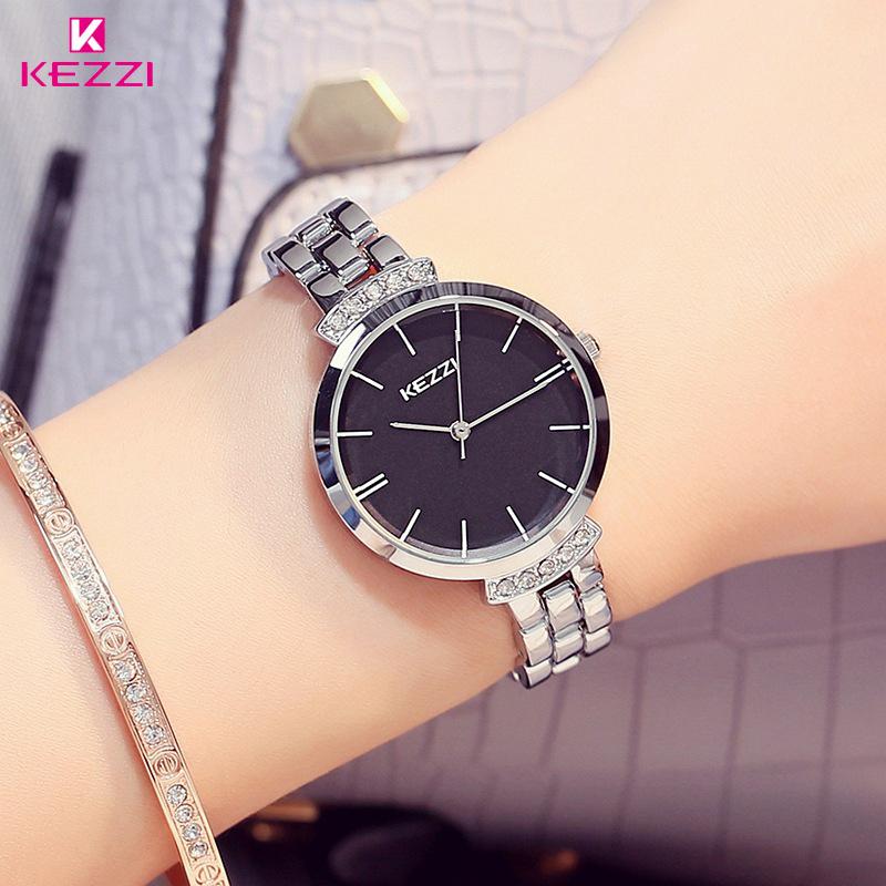 Prix pour KEZZI Marque De Luxe En Acier Inoxydable Femmes Montres Simple Étanche Quartz Montres Dames Robe Montre Horloge Reloj Mujer