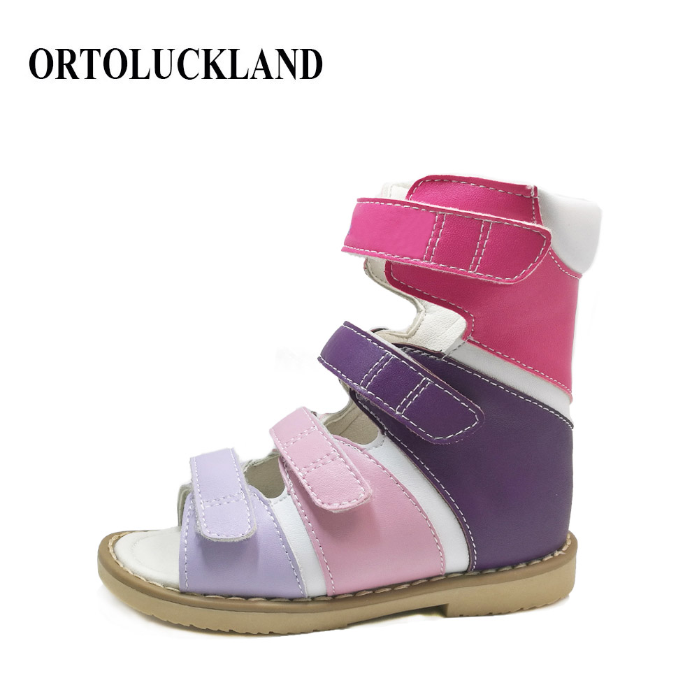 Fashionable kids girls high heel colorful leather sandals orthopedic footwear sprinter / valgus / flat feet shoes for children fashionable pu leather and stiletto heel design sandals for women