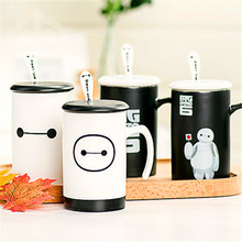 1Pcs New Fashion zakka Big hero 6 Creative Cartoon Baymax ceramic coffee cup Mark Cup With cover and spoon ceramic milk cup