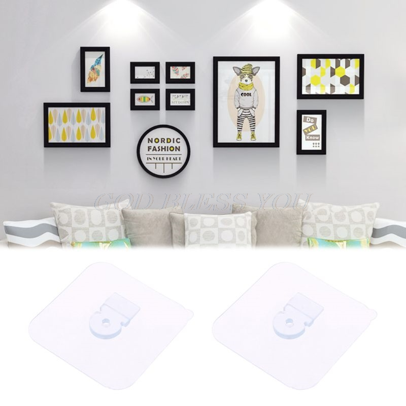 2pcs Heavy Duty Seamless Self Adhesive Hook Wall Hanger Hanging Holder Kits For Picture Poster Photo Frame Clock No Drilling