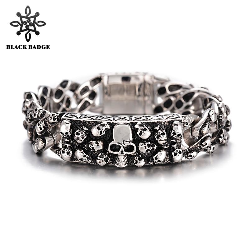 Skeleton Bracelet ID 316L Stainless Steel Bracelets Full Skull Link Big Skull Clasp Charm Men Bracelet Fashion Hip Hop Jewelry fashion 316l stainless steel man bracelet skull pattern h012