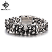 Skeleton Bracelet ID 316L Stainless Steel Bracelets Full Skull Link Big Skull Clasp Charm Men Bracelet Fashion Hip Hop Jewelry