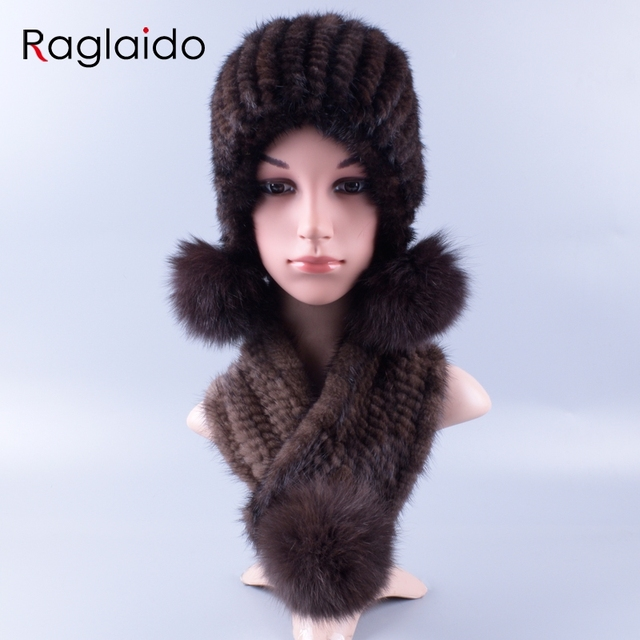 d3b93f50e2525 Womens Knitted Real Mink Fur Hats Scarves Set Winter Genuine Natural Fur Cap  with balls ears